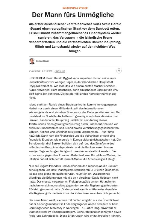 Screenshot of article from Handelsblatt